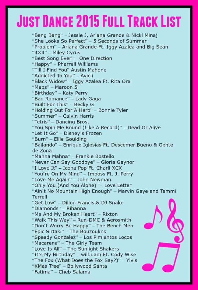 Just dance list of songs - Laptop 13 3