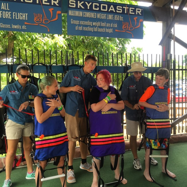 Luke and two of our friends got on the Skycoaster at Blastenhoff.