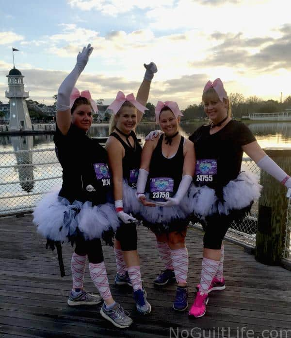 Wearing a tutu and channeling my inner Fantasia Ostrich at the 2016 Enchanted 10K