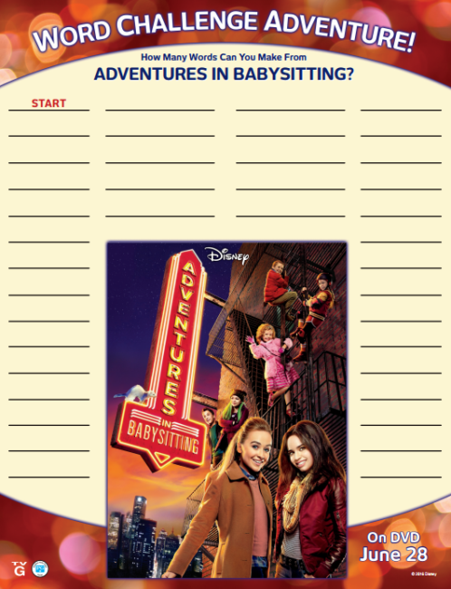Adventures In Babysitting Activity Sheets My No Guilt