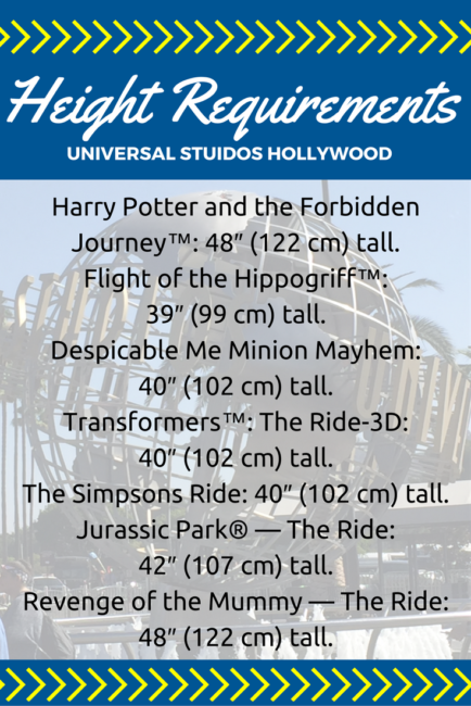 height-requirements-universal Going to Southern California? There's more than just Disneyland to experience! Check out Universal Studios Hollywood and the Wizarding World of Harry Potter too. Here are six ways I think Universal beats Disney that you need to know. Studio Tour | Jurassic Park | The Mummy | Transformers | Minions | Butter Beer | Front of the Line