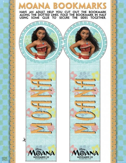 Moana movie activity sheets for the family. Poster | Maui | Disney | Printables bookmarks
