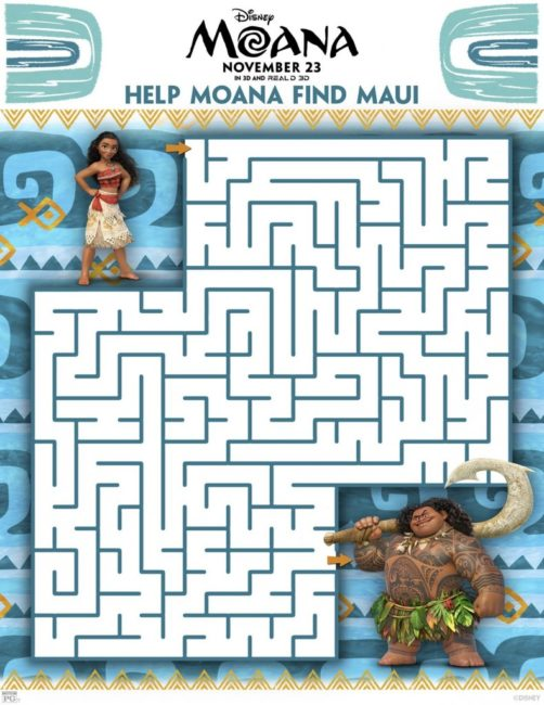 Moana movie activity sheets for the family. Poster | Maui | Disney | Printables Maze