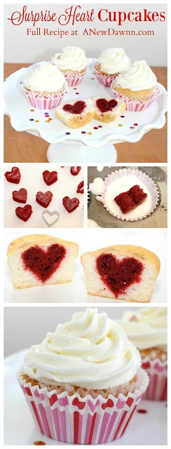 Cupcake hearts for Valentines Day celebrations. Sweet treats for V-Day!