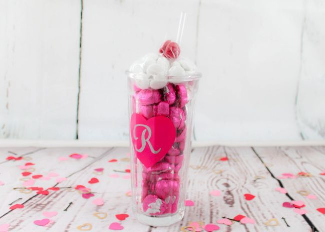 Sweet treats for Valentine's Day Celebration. DIY Candy Milkshake in a personalized tumbler. V-Day never tasted so sweet!