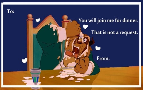 Beauty and the Beast Valentine Cards