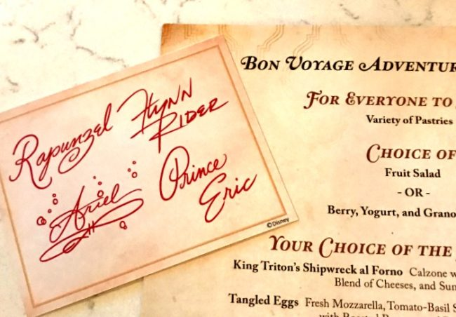 Bon Voyage Breakfast menu and character cards