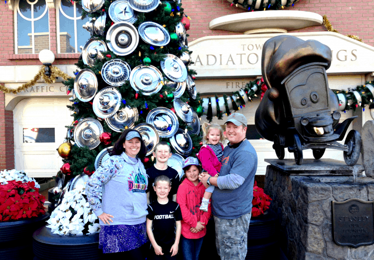 Disneyland Christmas decorations in Cars Land include a hubcap tree