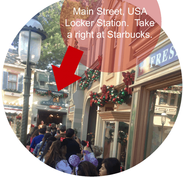 Tips for surviving Christmas at Disneyland includes going to the lockers on Main Street right off!