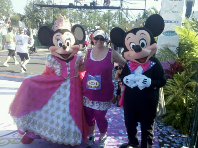 rundisney princess half marathon finish line with mickey and minnie mouse