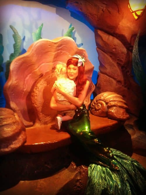 Hugging Ariel at Magic Kingdom in Disney World