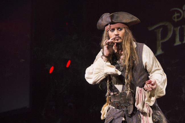 Johnny Depp as Captain Jack Sparrow on D23 Expo Stage