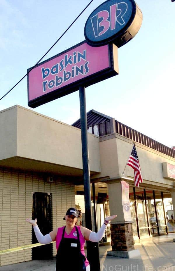 In the movie, Scott gets fired from Baskin Robbins. That's why I've got the look on my face. ;)