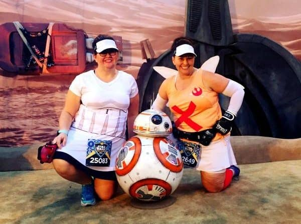 meeting BB8 during the Star Wars Lightside race at Disneyland