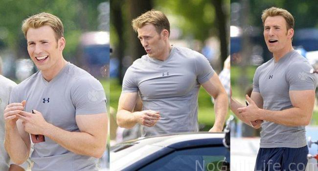 Check out the biceps on Chris Evans captain america. He must workout. Monday Memes featuring the Marvel Cinematic Universe.