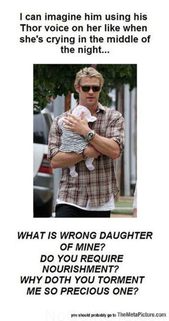 Thor. Holding a Baby. You're welcome, ovaries. Marvel Memes for Monday