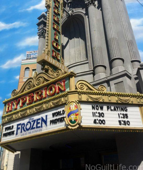 Tips to see Frozen at the Hyperion at Disneyland: grab a fastpass. They are located across from the Spiderman and Captain America meet and greet spot. FastPass. Do it!