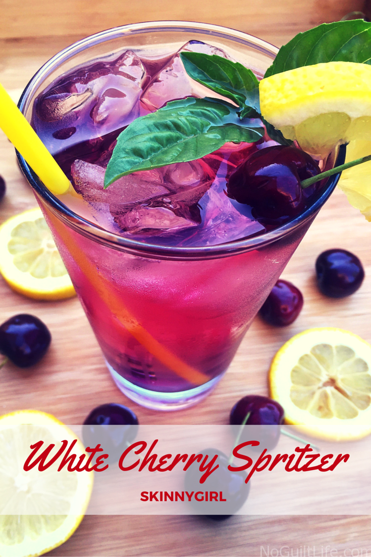 "Look here, Skinnygirl bartenders! I've got a recipe for White Cherry Spritzers. This is a Skinnygirl inspired cocktail to celebrate back to school. (Wut. It's a big deal around here!) The alcohol brand started by former ""Real Housewife of New York"" Bethenny Frankel, has a guilt-free line of snacks including chocolates, sparkling water, teas and mints."