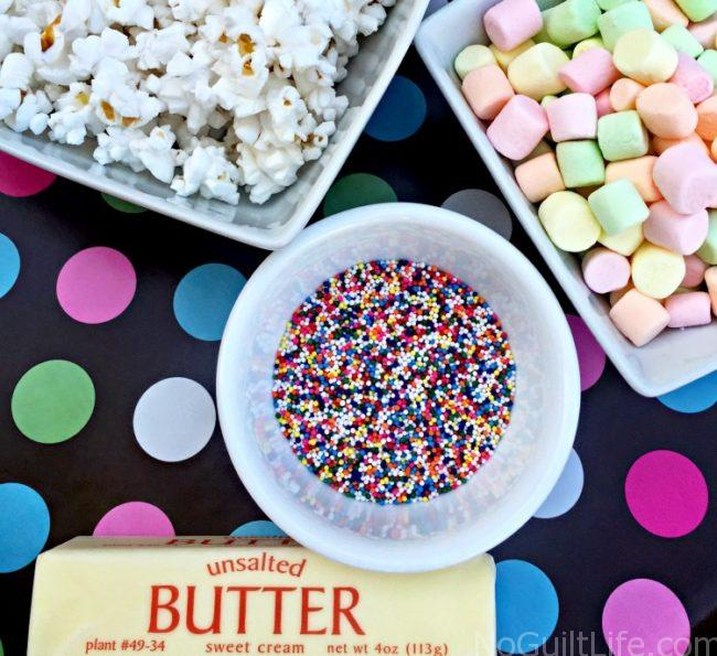 This is perfect for your next get together or summer snack: Birthday Cake Popcorn. Sweet and gooey goodness, with extra fiber as a bonus! It's like a rice krispy treat made with popcorn.