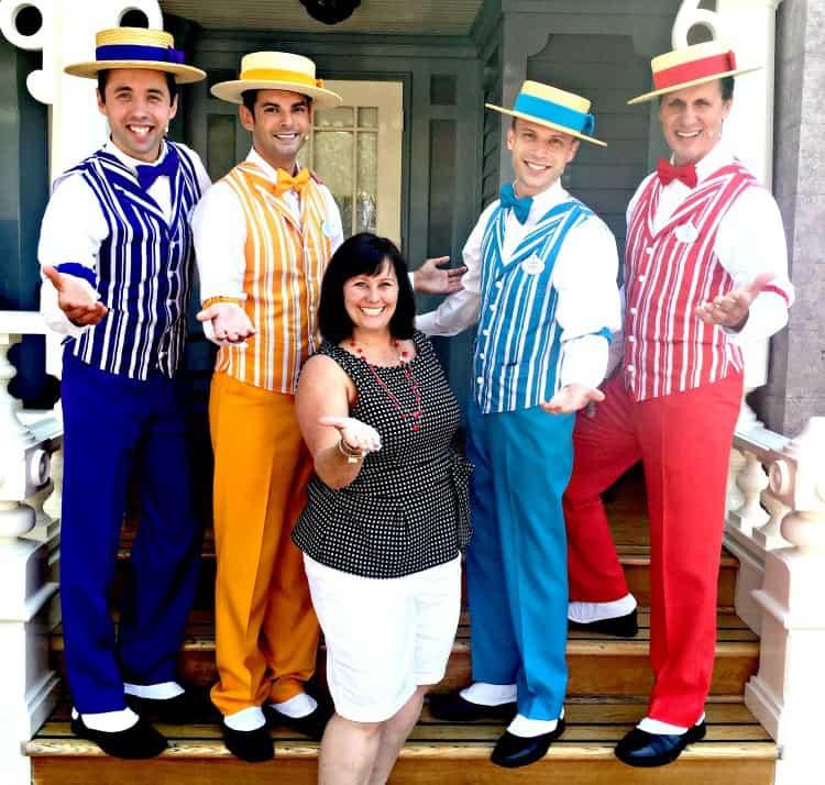 Dapper Dans singing on Main Street USA in Disneyland for Pixar Fest