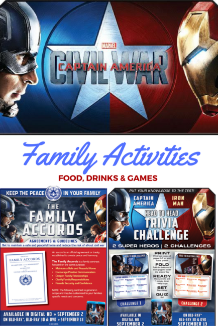 It's time: Captain America: Civil War is coming to Blu-Ray on Sept 13. Marvel & Chris Evans on my home TV? YES PLEASE! Fun Family Activities to get us all excited for this release.