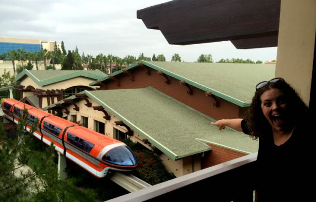 view of the monorail from grand california hotel at disneyland