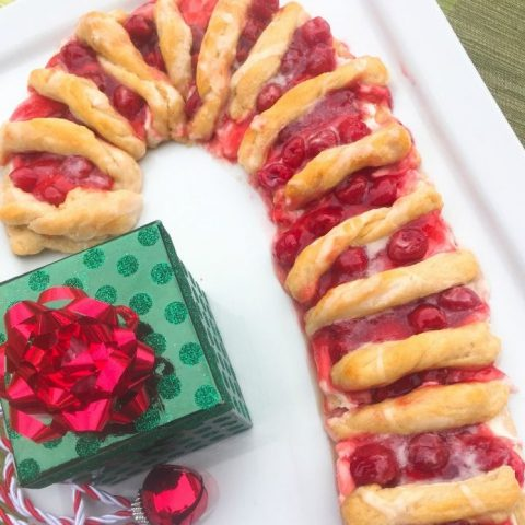 Easy Candy Cane Cherry Cheese Danish