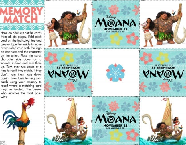 Moana movie activity sheets for the family. Poster | Maui | Disney | Printables matching game