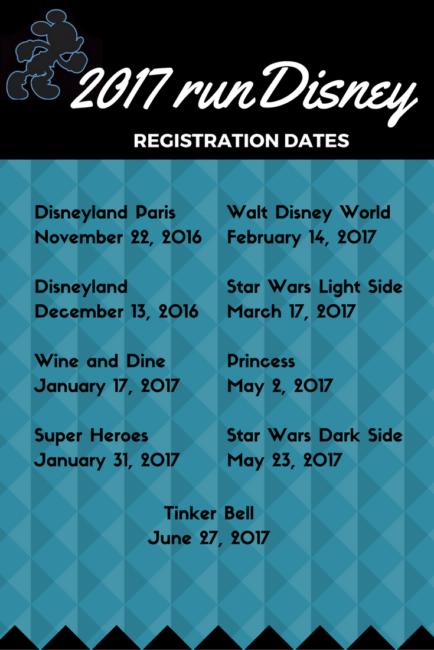 rundisney registration dates for Walt Disney World, Disneyland and Disneyland Paris. running | run | Travel | runcation 2017-2018 runDisney Race Calendar and Registration Dates