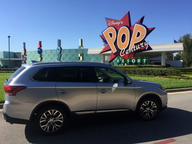 Driving an Outlander at Disney world Pop Century resort. Parking at Disney