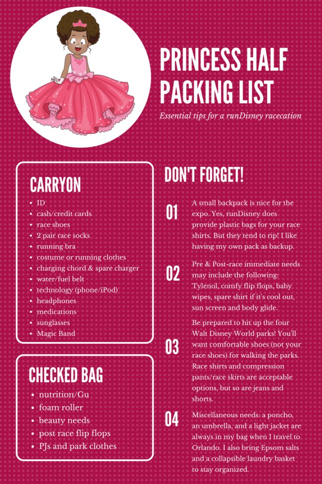 runDisney fans: Packing for the Princess Half Marathon list? Don't forget the Tiara or Tutu! Free race packing list for Walt Disney World Travel