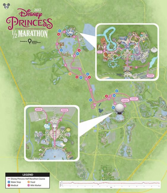 2017 Princess Half Marathon Map
