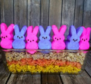 Easter Peeps Rice Krispy snacks: a fun way to treat your family & hide in an Easter basket this year!
