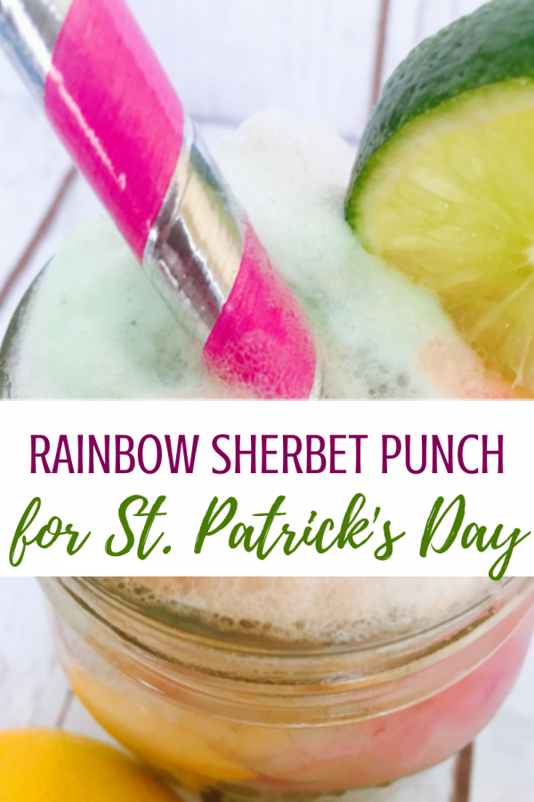 rainbow sherbet punch for easy st patricks day party