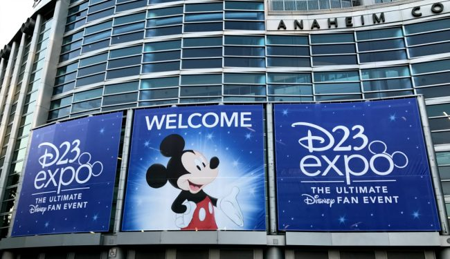23 Tips for the D23 Expo at Anaheim Convention Center. Signage with Mickey and D23 Expo logo