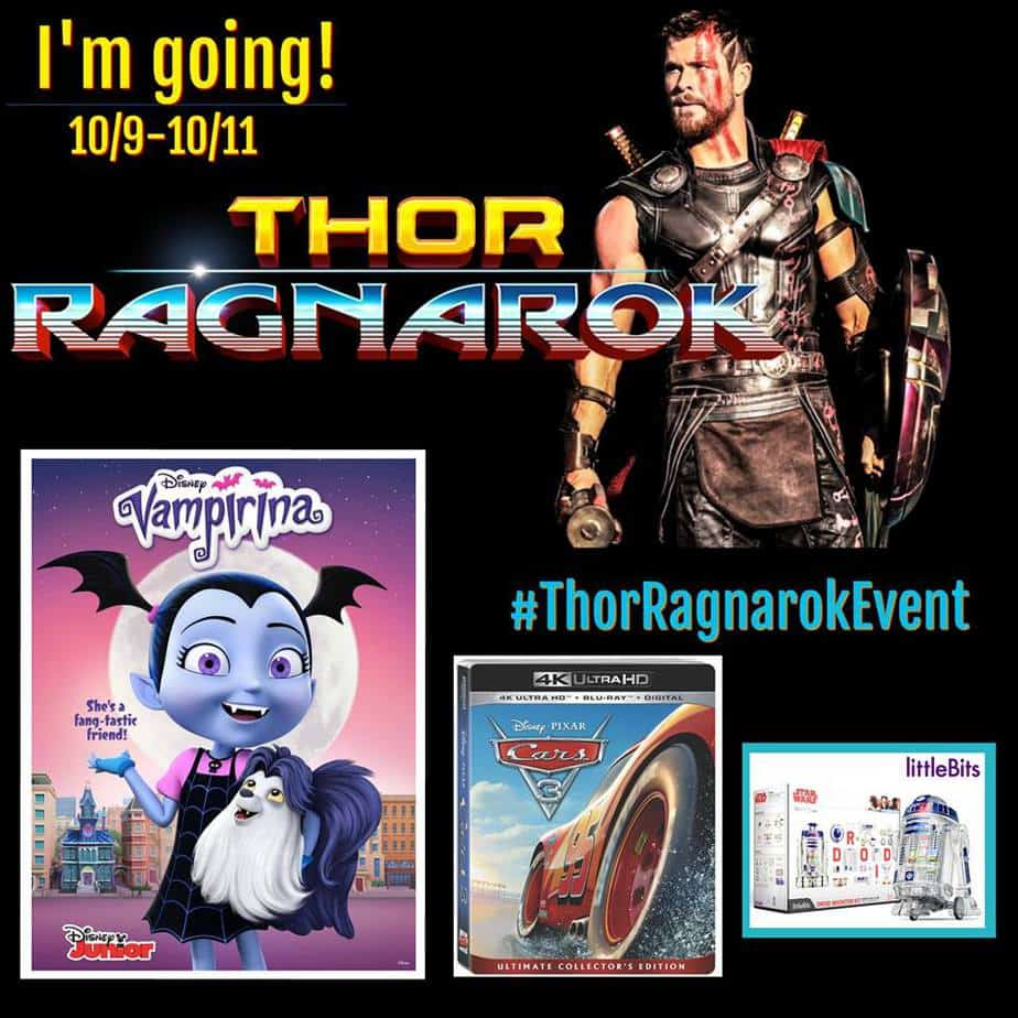 Follow along as 25 bloggers hit the Thor: Ragnarok red carpet, interview the talent, learn about littleBits, Vampirina, and Cars 3 on Bluray! #ThorRagnarokEvent