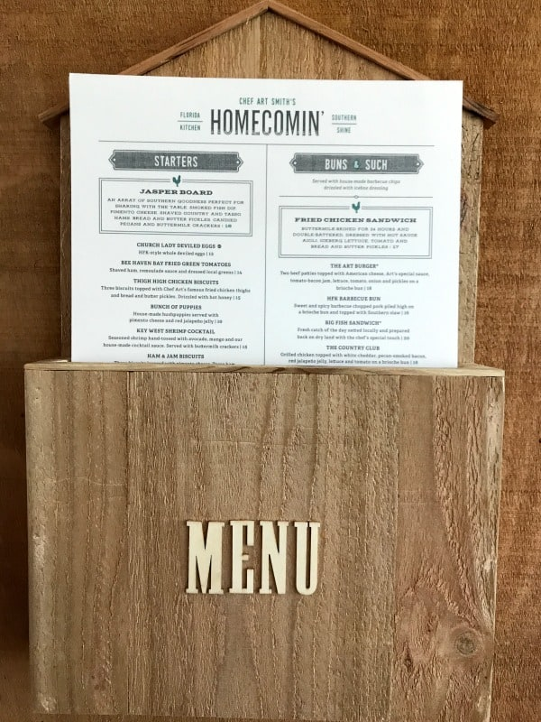 Menu at Art Smith's Homecoming restaurant in Disney Springs