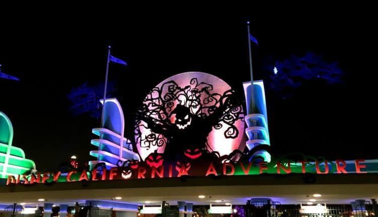 Disney california adventure entrance sign at Halloween with Oogie Boogie
