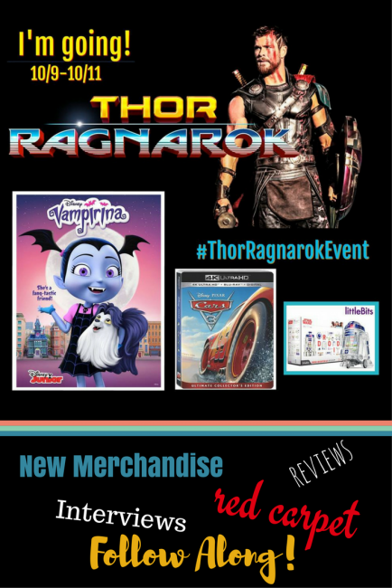 Heading to L.A. For the Thor: Ragnarok Premiere October 9-11. Follow along with 25 bloggers as we interview cast, preview the movie and a bunch of other fun stuff (#Cars3bluray #littlebits #Vampirina) #ThorRagnarokEvent
