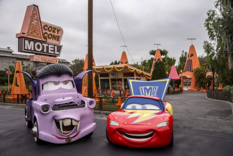 Cars Land Haul o ween at Disneyland halloween includes Mater and Lighning McQueen in costumes