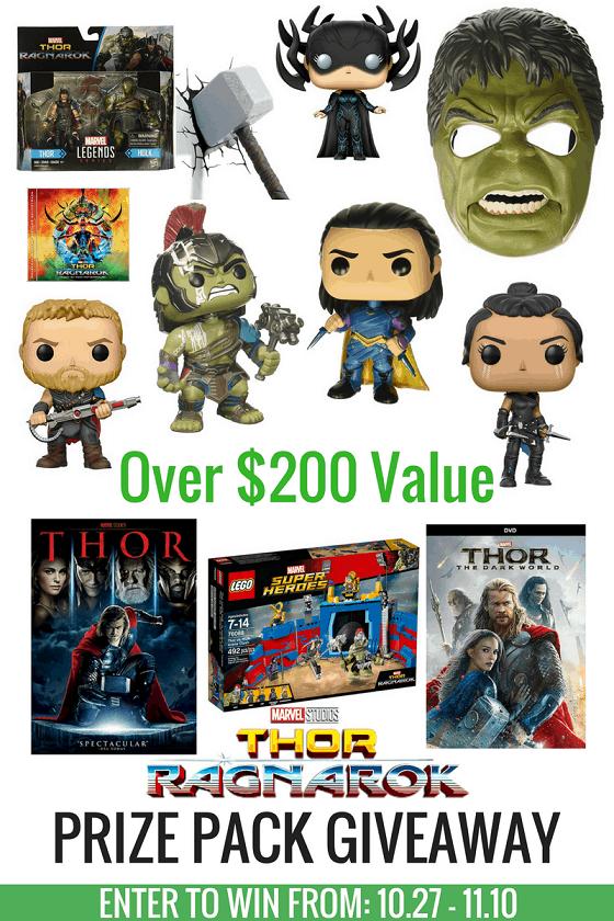 Thor: Ragnarok HULK SIZE giveaway! Enter to win prizes at over $200 value. Ends Nov 10, 2017.