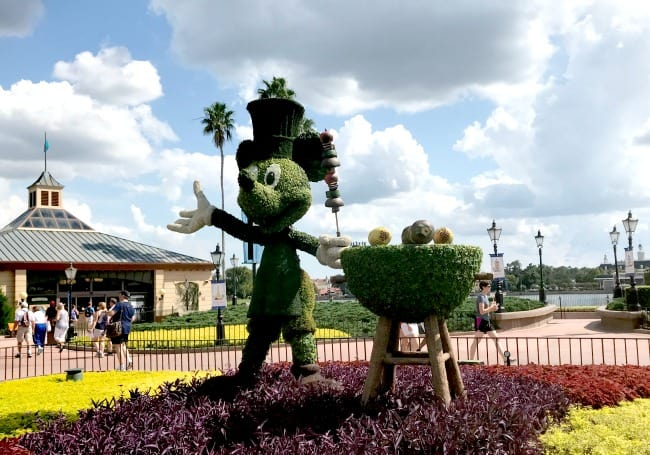 Drinking around the world at epcot food and wine mickey topiary