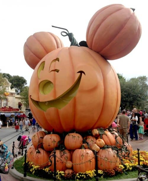 Giant mickey shaped pumpkin at Disneyland