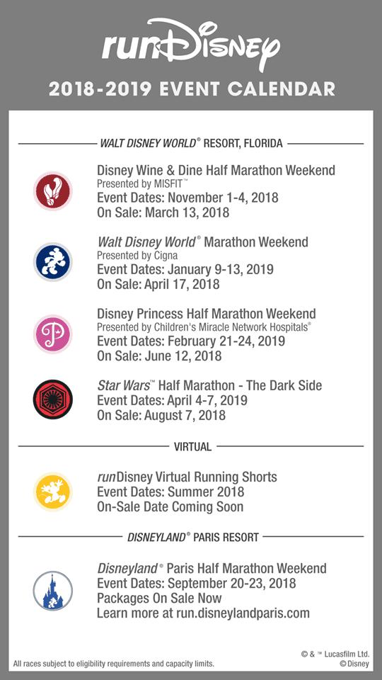 2018 rundisney race calendar