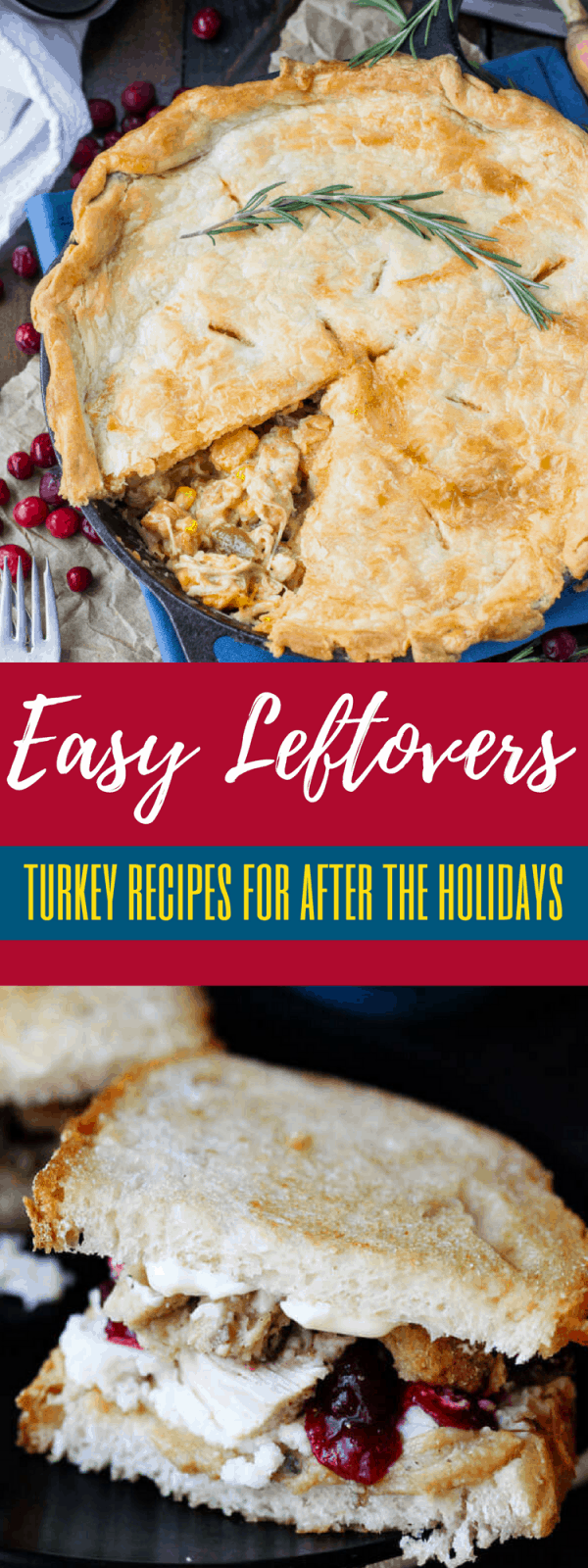 Easy leftover turkey recipes for this holiday season! Make sure to use that leftover Thanksgiving turkey in a pot pie, soup, or casserole!