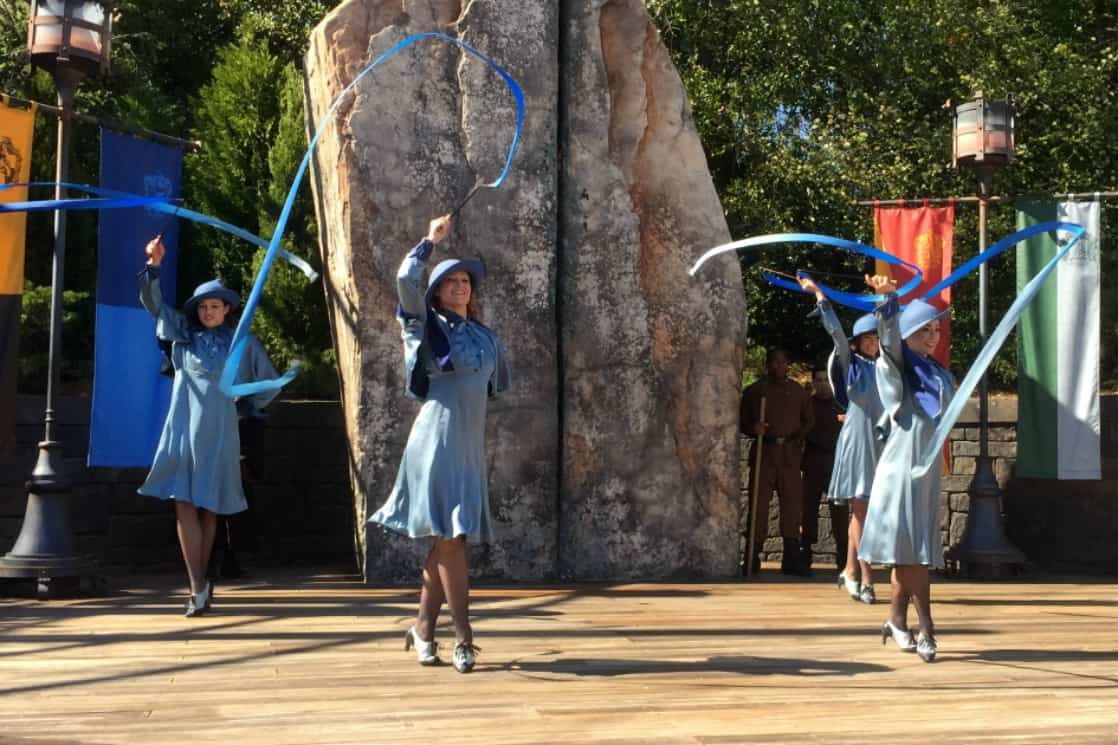 Dancing with witches of Boubaton Academy at Universal Orlando Wizarding World of Harry Potter