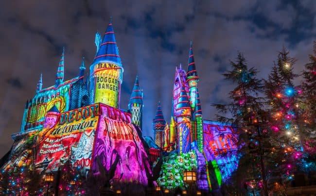 Universal studios christmas Hogwarts Lightshow
