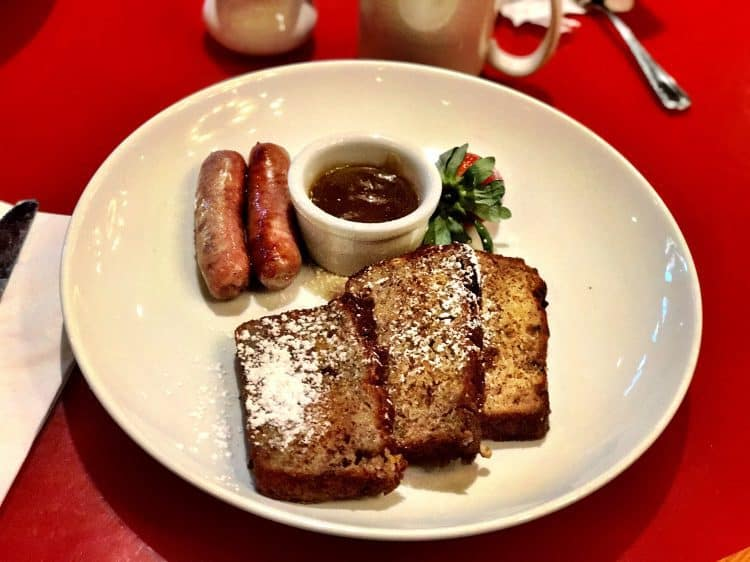 French toast at the Whispering Canyon Cafe Disney Free dining