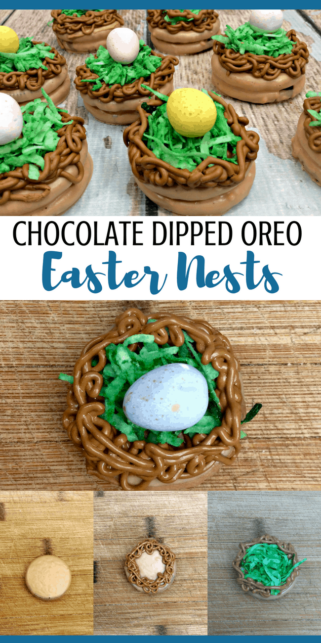 How to make chocolate dipped Oreos for Easter. This is a cute Easter Egg Nest made with Chocolate dipped Oreos!
