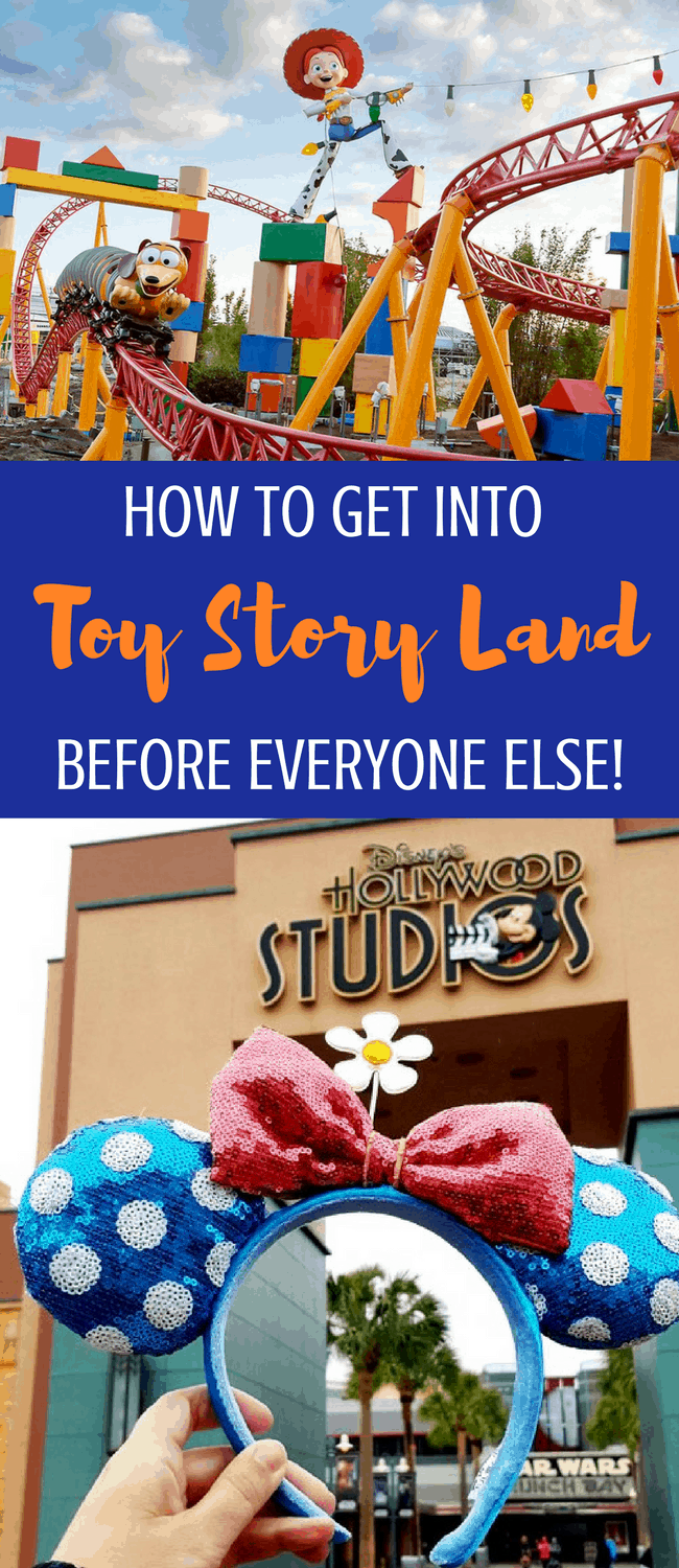 Disney World tip: How to get early entrance into Toy Story Land this summer. Hollywood Studios offers extra hours for onsite guests! #WaltDisneyWorld #DisneyWorld #disneytips #toystoryland #disneyhacks #wdw #disney